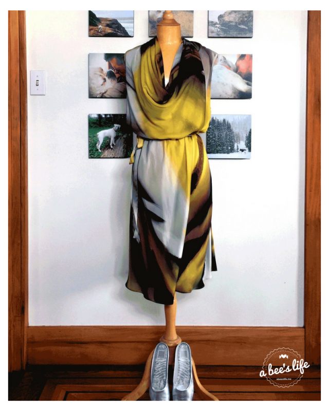 yellow print natori silk dress