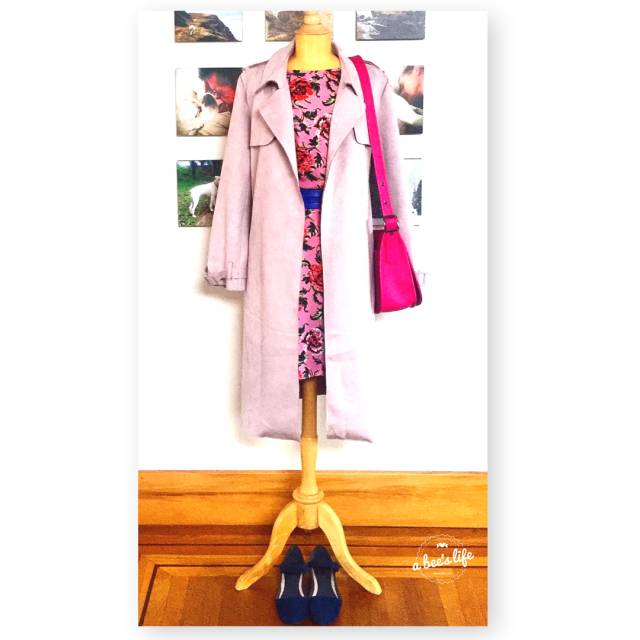 Pink dress, pink trench, pink purse outfit